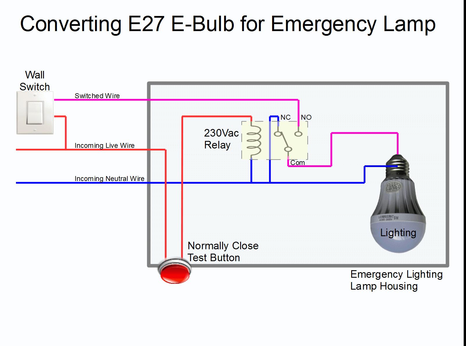 Converting E27 Emergency Bulb to an Emergency Lamp