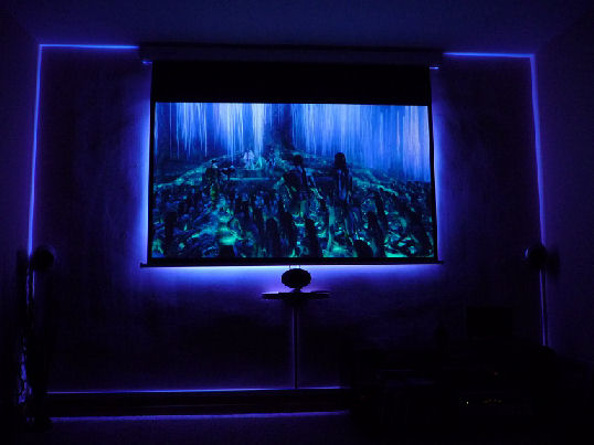TV Console purple lighting